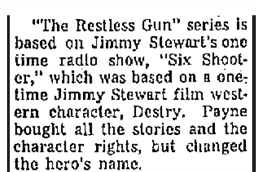 Daily Globe article on John Payne and The Restless Gun from December 14 1957