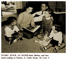 LIFE magazine article caption reads -- 'STORY HOUR AT HOME finds Shirley and husband reading to Charles, 5, Linda Susan, 10, Lori, 3.'