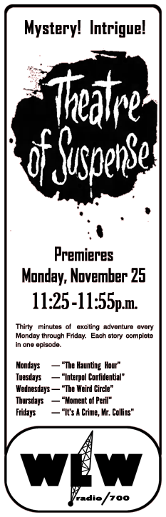 November 25th1963 spot ad for premiere of The Weird Circle