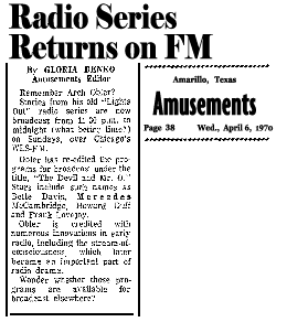 First announcement of The Devil and Mr. O from the Amarillo News of May 6 1970 [Note: the date is incorrect in the 'Amusements' byline]