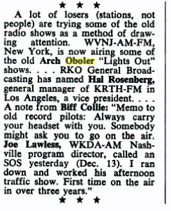 Billboard Magazine article on Arch Oboler retrospective airing over WVNJ, New York from January 13 1973