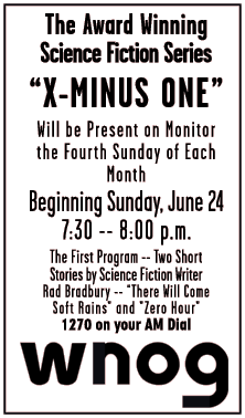 Announcement of X Minus One airing on Monitor retrospective from June 24 1973