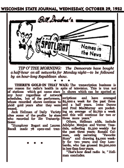 Bill Doudna's syndicated Spotlight from Oct. 29, 1952 describes the 78 Ziv transcriptions the Bogarts made.