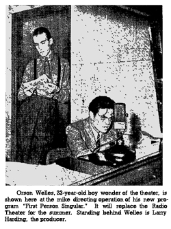 CBS Announces 'First Person Singular', Welles new radio program (rom July 10, 1938)