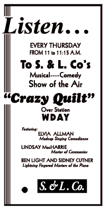 Crazy Quilt spot ad for S. & L. Co. from March 20 1935