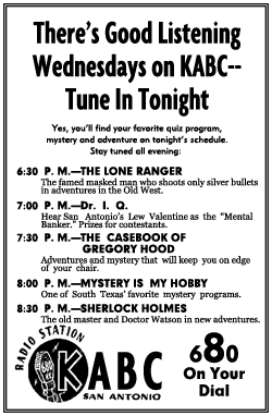 ABC Spot Ad for 1950 run of The Casebook of Gregory Hood from February 8 1950