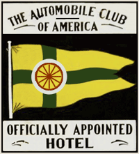 Early Automobile Club of America 'sanctioned and inspected hotel' sign for a Virginia roadside hotel.