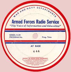 AFRS transcription label for At Ease Episode No. 444