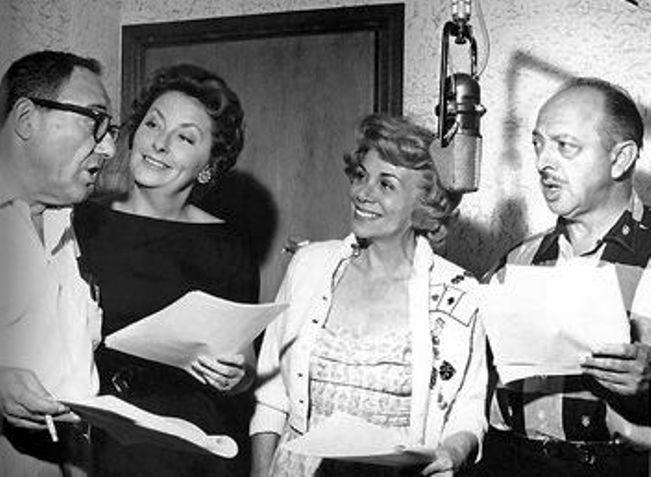 Alan Reed, Jean Vander Pyl, Bea Benaderet, and Mel Blanc working on the Flintstones sometime about 1961.