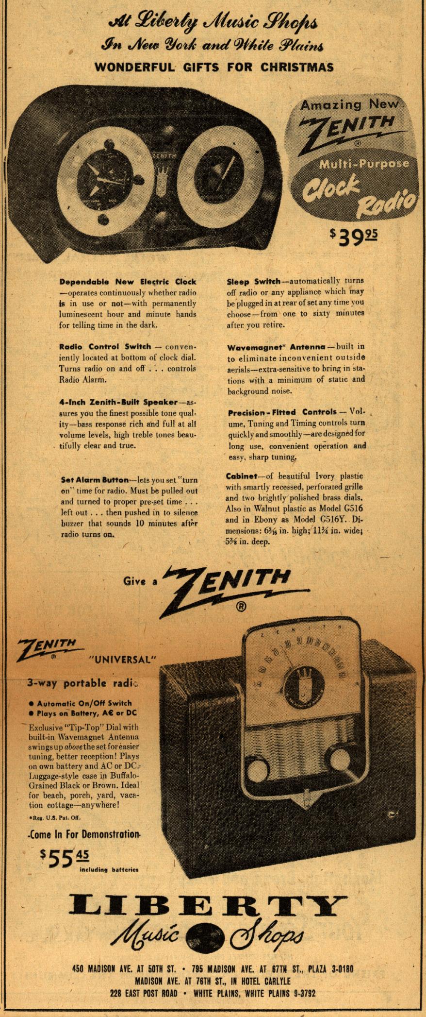 amazing new zenith mutil purpose clock radio