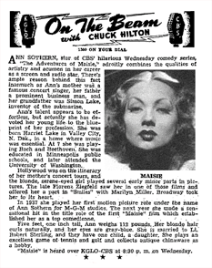 Sept. 19, 1945 article about Ann Sothern and Maisie