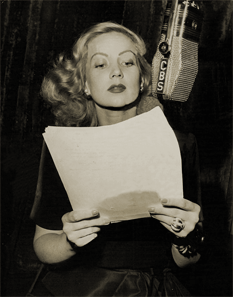 Ann Sothern rehearses at the CBS mike for the Eversharp-sponsored run of The Adventures of Maisie.