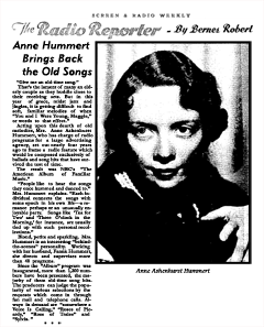 Anne Hummert article from Screen and Radio Weekly March 22, 1936