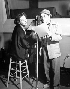 Arch Oboler discusses Arch Oboler's Plays script with Nazimova circa 1939