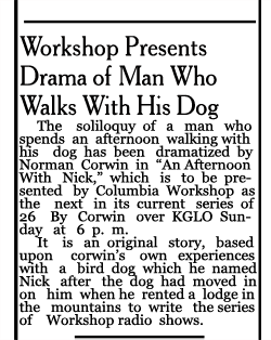 Mason City Globe-Gazette article of June 7 1941, describing 'An Afternoon With Nick'