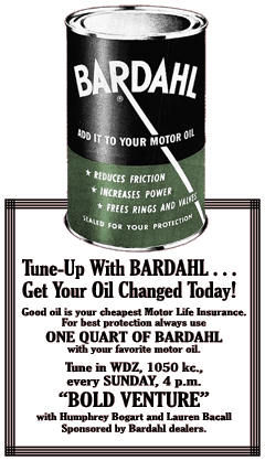 Bardahl motor oil additive was one of Bold Venture's earliest corporate sponsors, here promoting the new series on April 7th 1951