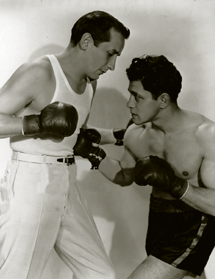 Canadians Victor Jory and Middleweight champ Frankie Battaglia spar circa 1935