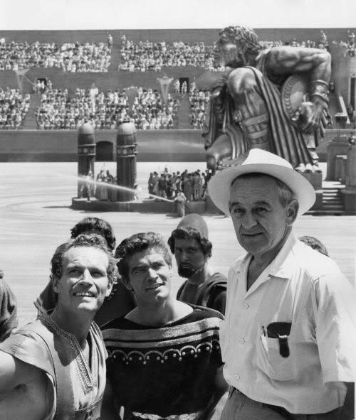 Charlton Heston, Stephen Boyd & William Wyler on the set of