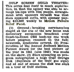 Billboard article of May 9, 1942 citing Gulf's contribution of 10,000 dollars to the Motion Picture Relief Fund for each performance of the Gulf Screen Guild programs. That's about 134,000 dollars per episode in 2010 dollars.