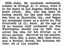 Billboard magazine obituary for John Hix from June 17 1944