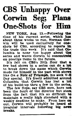 Billboard article of August 18 1945 citing its dissatisfaction with Norman Corwin's Columbia Presents Corwin series.