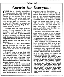 Billboard editorial praising On A Note of Triumph broadcast of May 13 1945