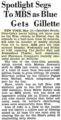 Billboard article from May 19 1945 citing the rationale behind the two-week interruption in The Brownstone Theater