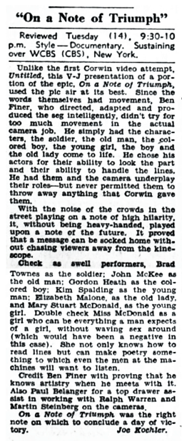 Billboard review of the Televised portion of Corwin's On A Note of Triumph from May 25 1945