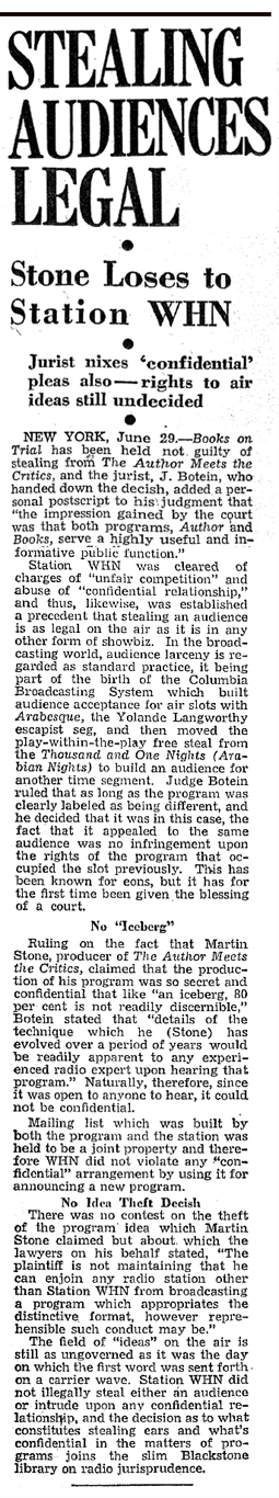 Billboard article on ruling regarding Author Meets Critics producer Martin Stone's suit against WHN which alleged that WHN was stealing his then WQXR audience by airing their own Books On Trial program. From July 6 1946