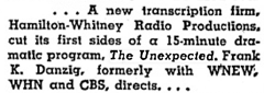 Billboard's May 3rd 1947 announcement of The Unexpected
