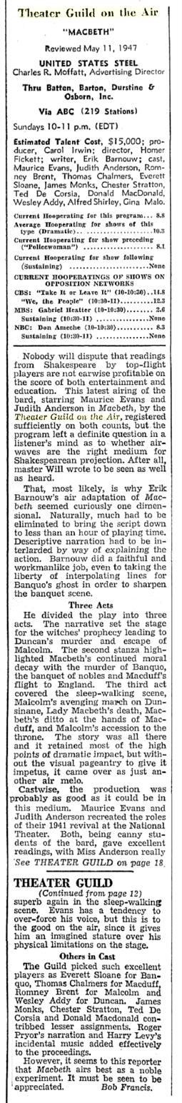 Billboard Review of Theatre Guild on the Air from May 24 1947
