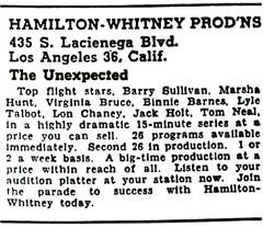 Billboard's July 12th 1947 announcement of availability of The Unexpected