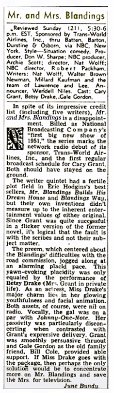 Billboard Magazine's first review of Mr and Mrs Blandings from February 3 1951