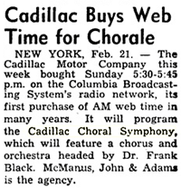 The Billboard announcement of February 28th 1953 citing Cadillac's return to Radio with Dr. Frank Black
