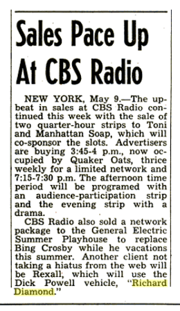 Billboard announcement of CBS reruns of Richard Diamond for Rexall from May 16 1953