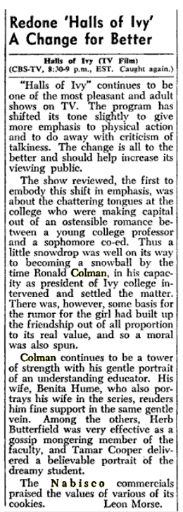 Billboard magazine updated a previous review of the CBS-Television version of The Halls of Ivy on April 23 1955