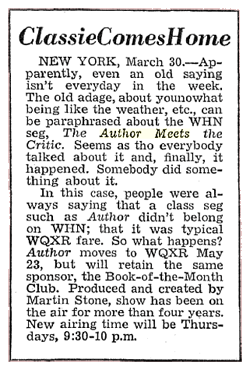 Billboard announcement of The Author Meets The Critics' move from WHN to WQXR from April 6 1946