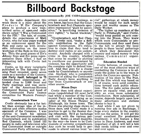 Billboard magazine announcement of forthcoming I Was A Communist for The FBI series from January 12 1952