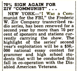 Billboard announcement of renewals for I Was A Communist for The FBI from April 11 1953