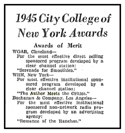 Billboard announcement of 1945 City College of New York Award of Merit to The Author Meets the Critics from April 27 1946