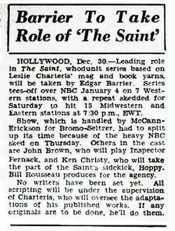 Billboard magazine announces the selection of Edgar Barrier to star in The Saint from Jan. 6 1945