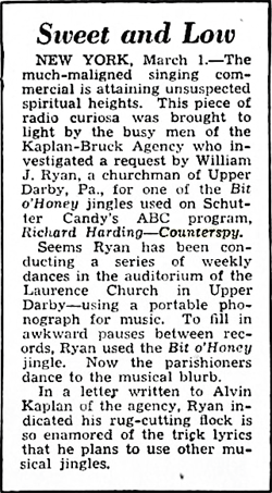 Billboard article regarding the Bit-O-Honey jingle for Counterspy from Mar 8 1947
