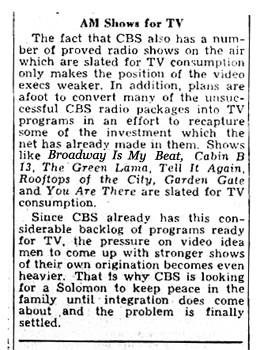The Green Lama was one of several programs CBS-TV was contemplating for Televsion--Billboard Magazine October 29 1949