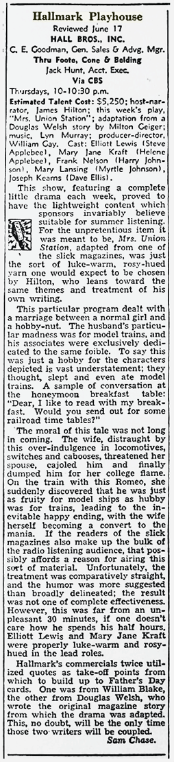 Billboard's review of the June 17, 1948 production of Hallmark Playhouse