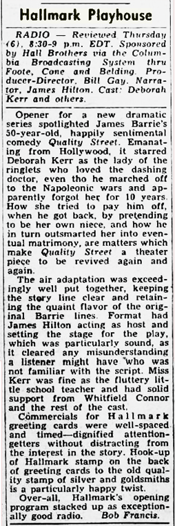 Billboard's review of the Sep 6, 1951 production of Hallmark Playhouse