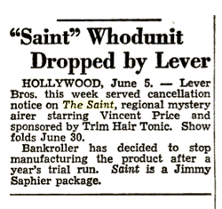 Billboard magazine announces Lever Bros. decision to drop their Trim Hair Tonic line and cancelling The Saint from June 12 1948