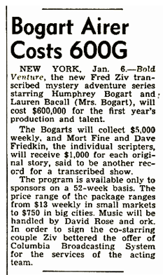 Billboard Magazine article from January 13 1951