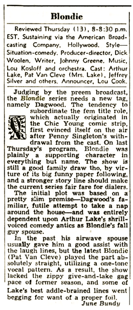 Billboard Magazine review of ABC October 13 1949 premiere of Blondie from October 22 1949