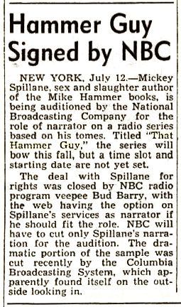 Billboard announcement of an audition or an NBC deal to bring Mike Hammer to the air from July 19 1952