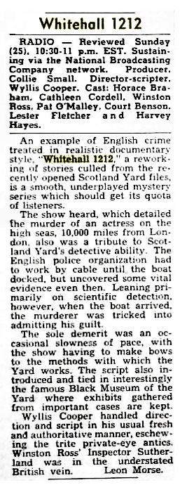 Billboard Magazine review of Whitehall 1212 from December 8 1951